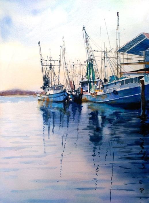 Barcos de pesca  Pintura de Luis Imedio   Compra arte en Flecha.es