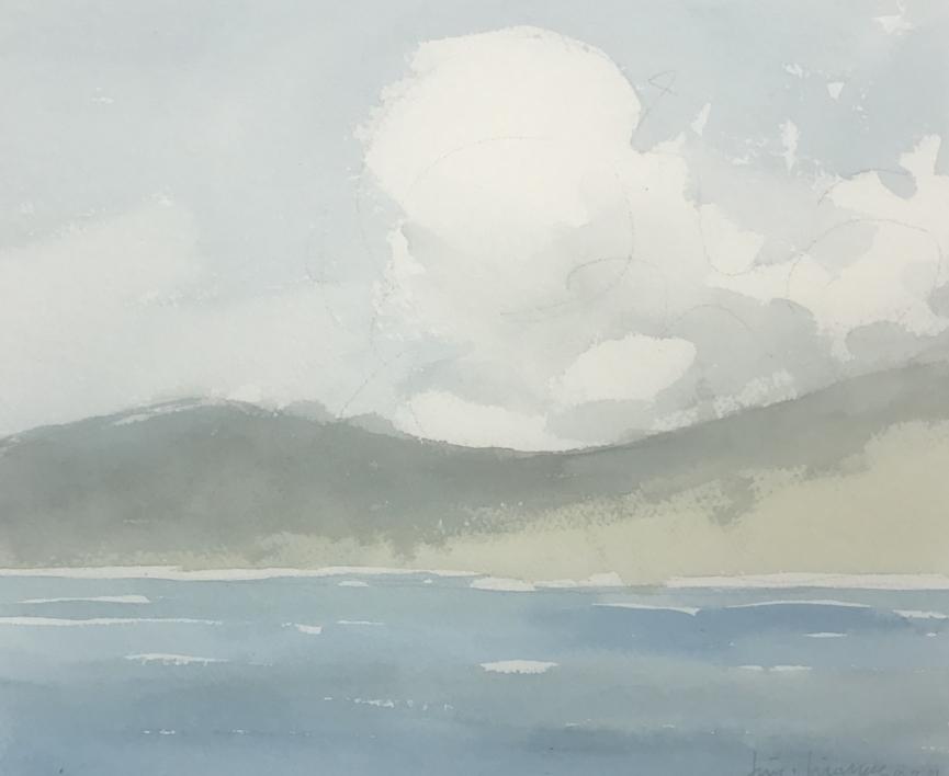 Montañas desde cubierta |Pintura de Iñigo Lizarraga | Compra arte en Flecha.es