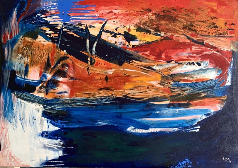 Recogiendo a Los Sueños |Pintura de Lika Shkhvatsabaia | Compra arte en Flecha.es