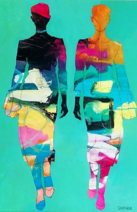 Twins on the party |Pintura de Francisco Santos | Compra arte en Flecha.es