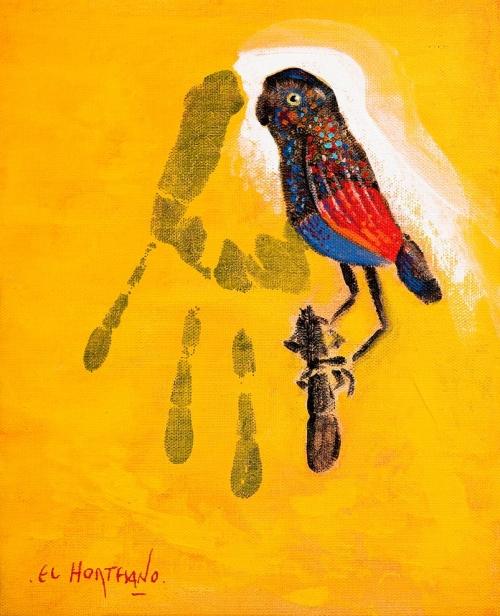El Pájaro en mi Rama (Humano-102) |Pintura de El Hortelano | Compra arte en Flecha.es