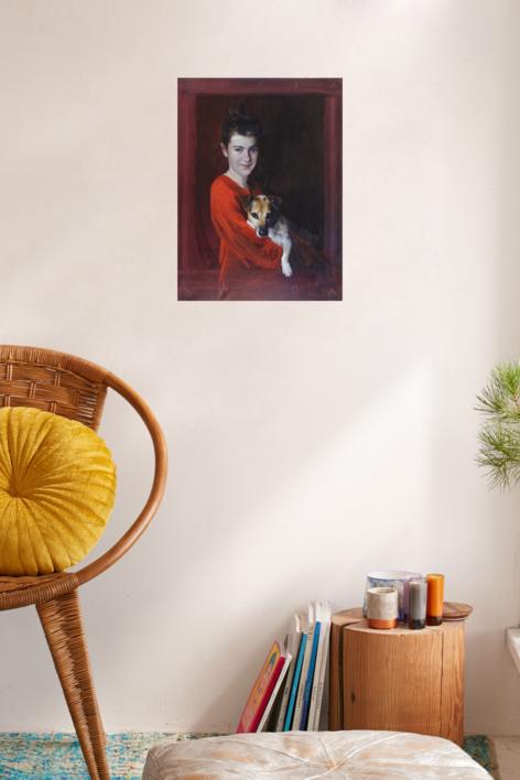 LUCIA Y SHIBA | Pintura de ÁNGELES CERECEDA | Compra arte en Flecha.es