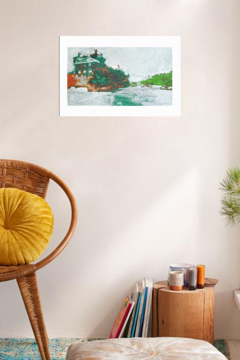 Puerto Viejo (Versión 1)   Obra gráfica de Jorge Castillo   Compra arte en Flecha.es