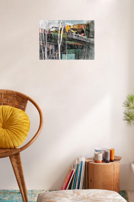 Aravaca, en otoño. | Collage de Eugenio Vega | Compra arte en Flecha.es
