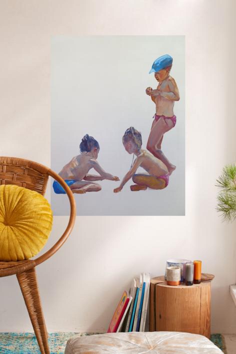 Tres niñas en la playa | Pintura de JESÚS MANUEL MORENO | Compra arte en Flecha.es