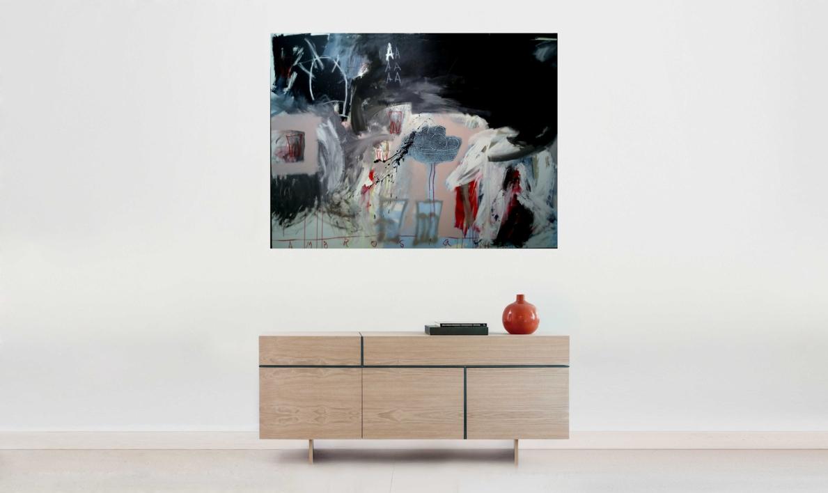 Ordinary objects playing bellow the A | Pintura de Almudena  Blanco | Compra arte en Flecha.es