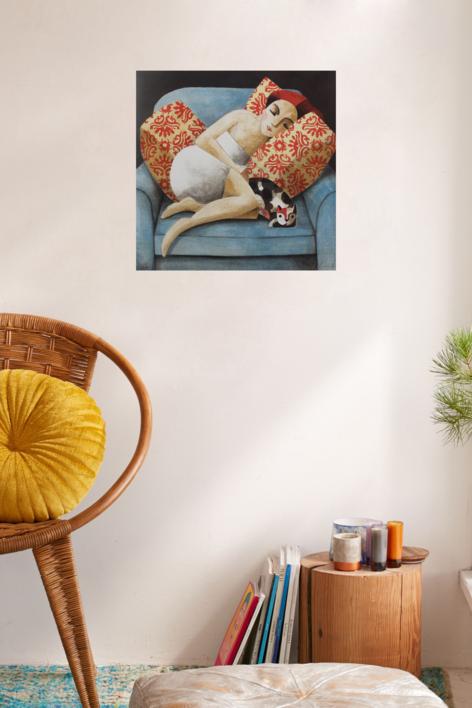 Blue Sofa   Obra gráfica de Didier Lourenço   Compra arte en Flecha.es
