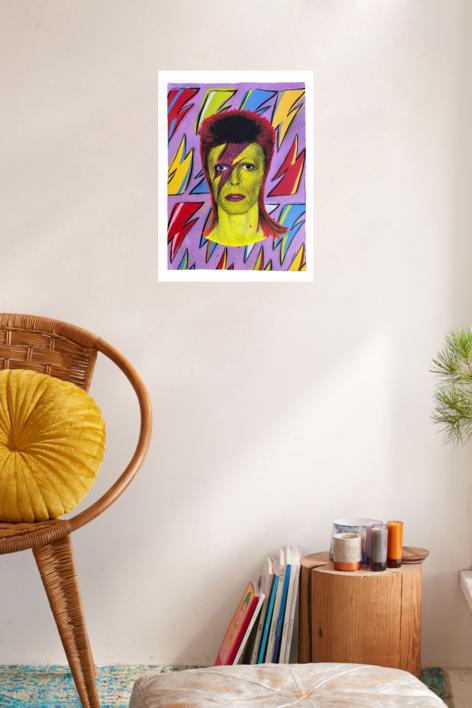 David Bowie (Flash-Lilac) | Pintura de Silvio Alino | Compra arte en Flecha.es