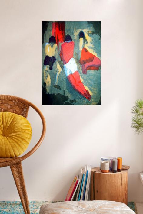 Los chicos en la playa. | Obra gráfica de Jenifer Carey | Compra arte en Flecha.es