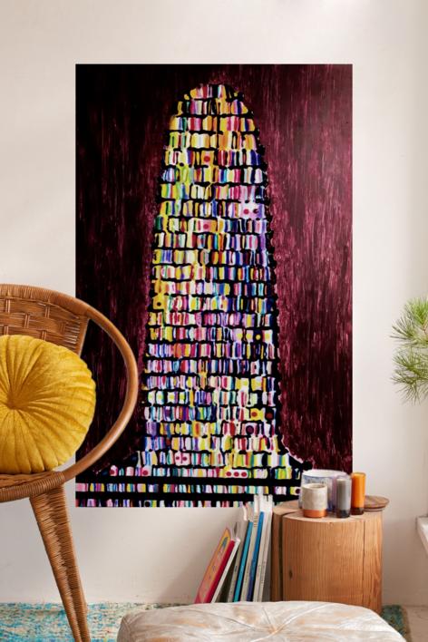 Torre de Babel granate | Pintura de Yanespaintings | Compra arte en Flecha.es