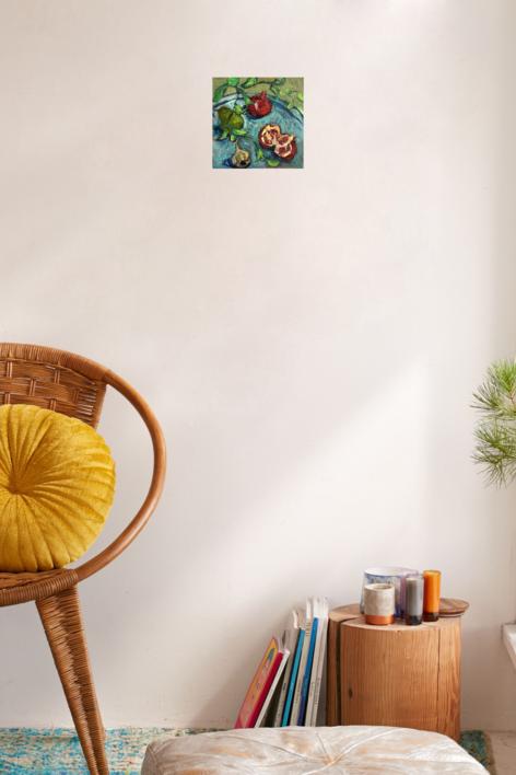 Bandeja de Granadas, Pera y Ajo | Pintura de Sara Chamón | Compra arte en Flecha.es