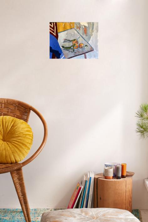 NARANJAS Y PAÑUELO   Pintura de Iraide Garitaonandia   Compra arte en Flecha.es