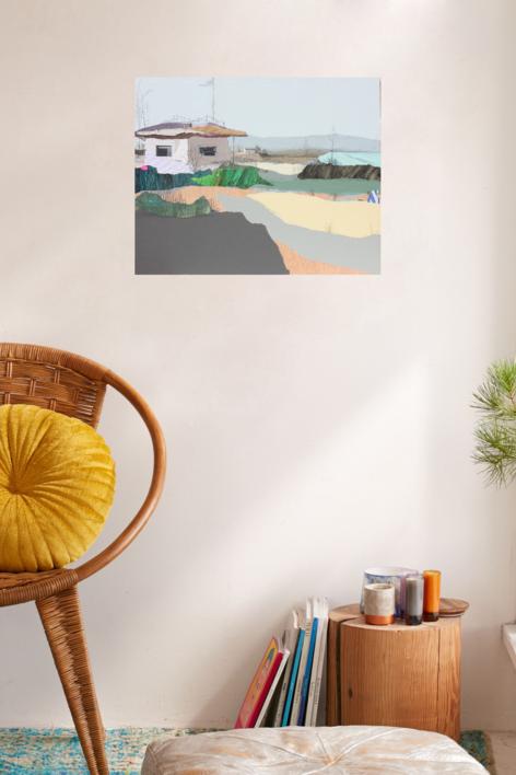 Bahía azul | Collage de Eduardo Query | Compra arte en Flecha.es