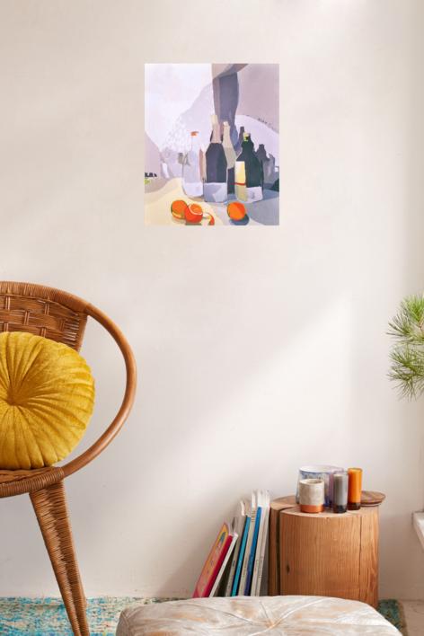 Botellas y naranjas | Pintura de Javier AOIZ ORDUNA | Compra arte en Flecha.es