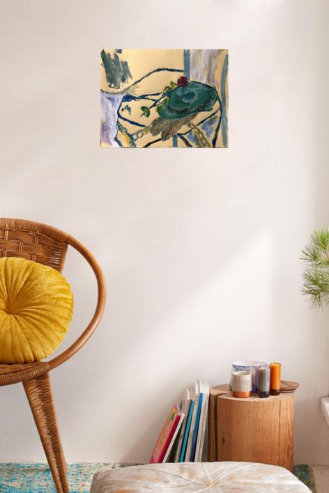 BODEGÓN CON SOMBRERO Y ROSA | Pintura de Iraide Garitaonandia | Compra arte en Flecha.es