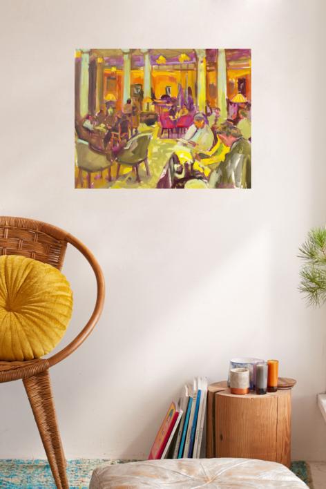 Leyendo en el hotel | Dibujo de José Bautista | Compra arte en Flecha.es