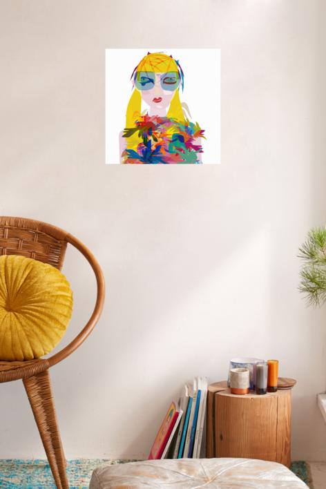 Ella y sus flores | Dibujo de Mariana sanz POPNTOPMAD | Compra arte en Flecha.es