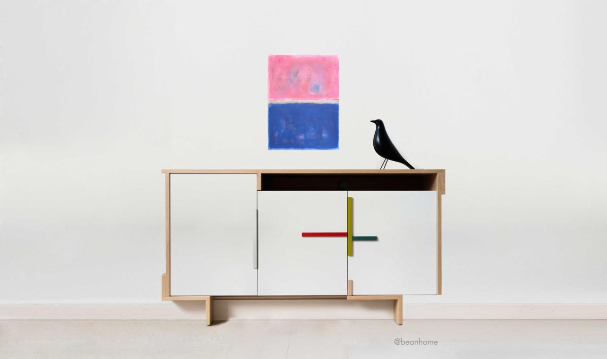 Pink and blue composition   Pintura de Luis Medina   Compra arte en Flecha.es