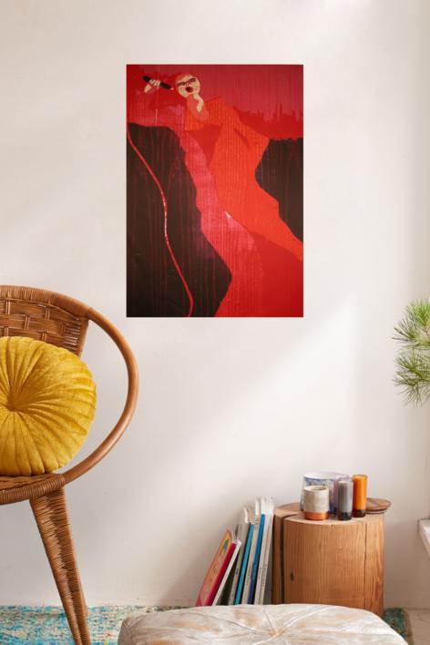 La cantante rojo.   Obra gráfica de Jenifer Carey   Compra arte en Flecha.es