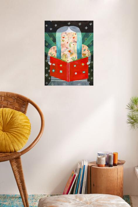 La lectura, una puerta abierta a un mundo encantado | Dibujo de Ana Suárez | Compra arte en Flecha.es