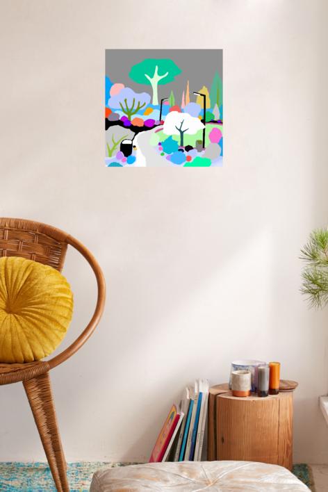 El parque de los pavos | Dibujo de ALEJOS | Compra arte en Flecha.es