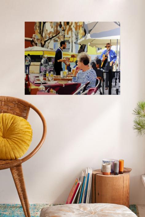 Terraza con músico | Pintura de Jose Belloso | Compra arte en Flecha.es