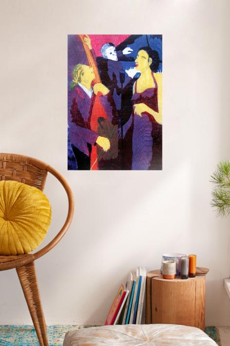 Jazz trío con cantante morado | Obra gráfica de Jenifer Carey | Compra arte en Flecha.es