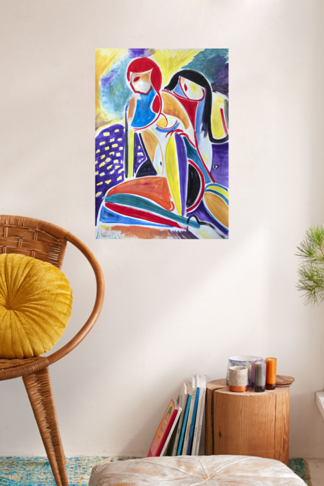 dos mujeres, expresionismo 08 2019 | Pintura de Maciej Cieśla | Compra arte en Flecha.es