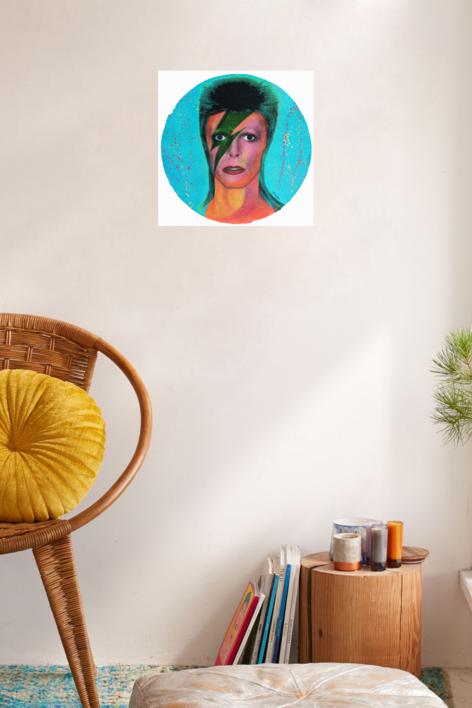 David Bowie (Red-Orange Fluorescent) | Pintura de Silvio Alino | Compra arte en Flecha.es