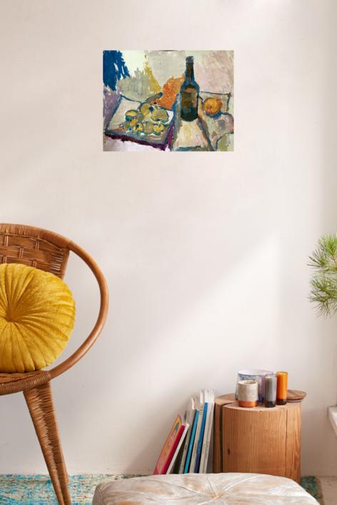 BODEGÓN CON BOTELLA | Pintura de Iraide Garitaonandia | Compra arte en Flecha.es