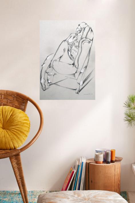 Mujer con abanico | Dibujo de Miguel Mansanet | Compra arte en Flecha.es