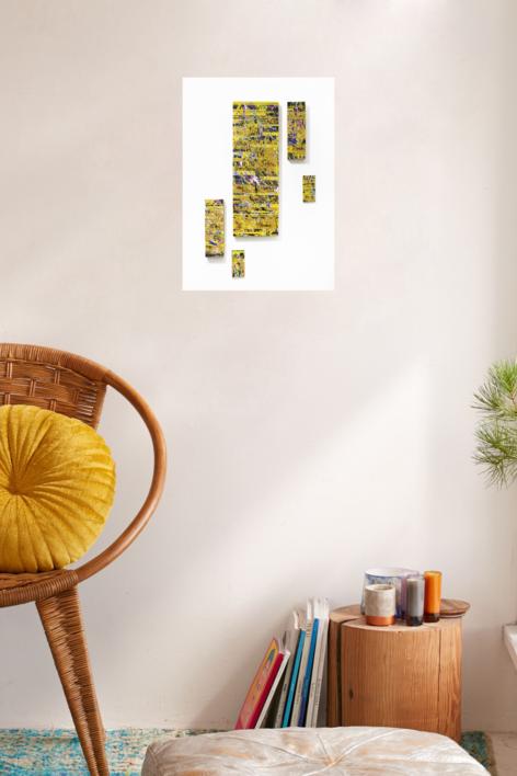 Golden Glitch | Pintura de Ana Dévora | Compra arte en Flecha.es