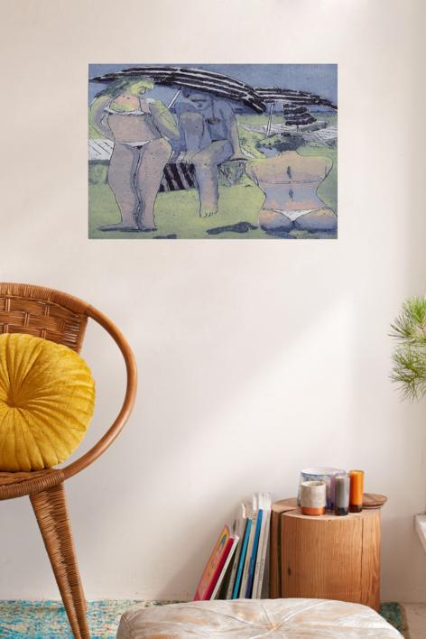 Chicas en la Playa   Obra gráfica de Jenifer Elisabeth Carey   Compra arte en Flecha.es