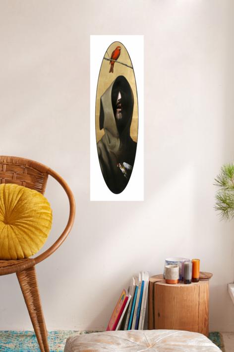 Pájaro rojo Zurbarán | Collage de Enrique González | Compra arte en Flecha.es
