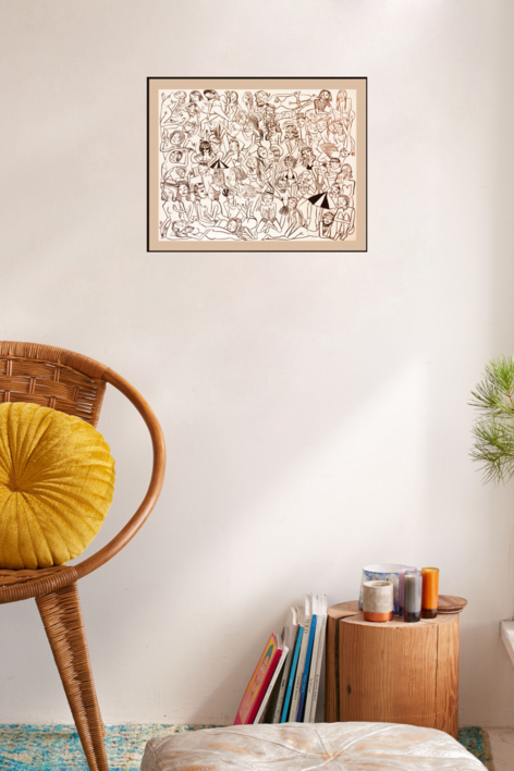 Des gens sympas | Dibujo de Miranda Makaroff | Compra arte en Flecha.es