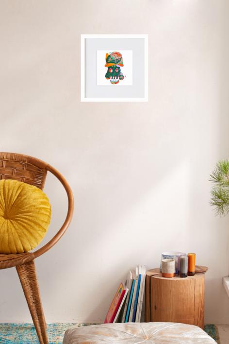 la calavera simpatica | Ilustración de richard martin | Compra arte en Flecha.es