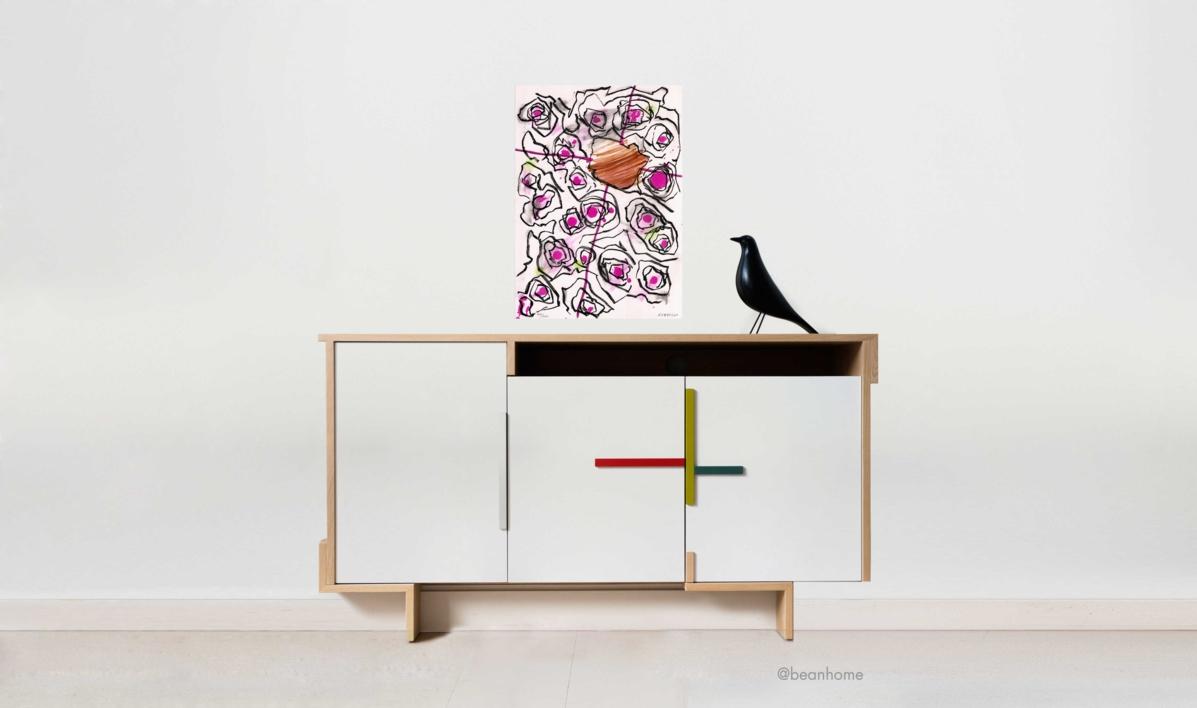 Dinámica con orquestación central | Obra gráfica de Luis Gordillo | Compra arte en Flecha.es