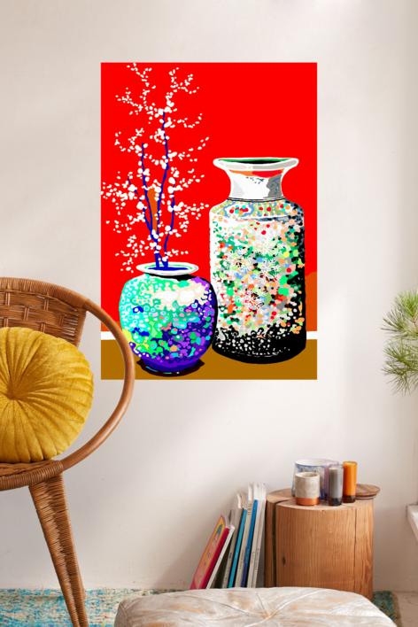 Dos jarrones chinos | Dibujo de ALEJOS | Compra arte en Flecha.es