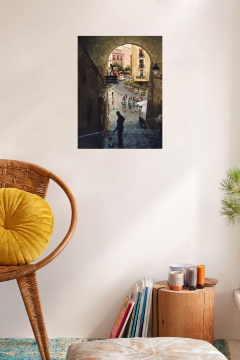 Arco de Cuchilleros, Plaza Mayor, Madrid | Dibujo de Pedro Higueras | Compra arte en Flecha.es