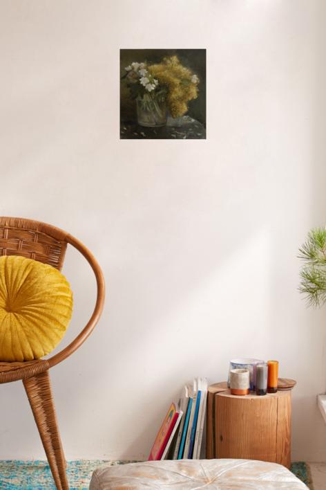 Vaso con mimosas | Dibujo de Charo Mirat | Compra arte en Flecha.es