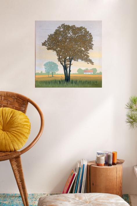 Árbol y casa de Öland | Pintura de Charlotte Adde | Compra arte en Flecha.es