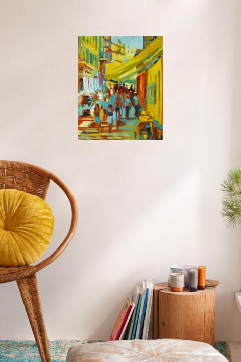 Toldo amarillo | Pintura de José Bautista | Compra arte en Flecha.es