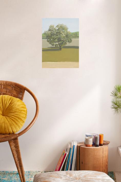 Pardo y verde: retrato de una encina. | Pintura de Ignacio Mateos | Compra arte en Flecha.es
