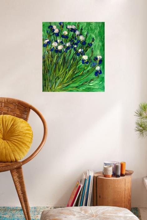 Iris sobre Verde   Pintura de Sara Chamón   Compra arte en Flecha.es