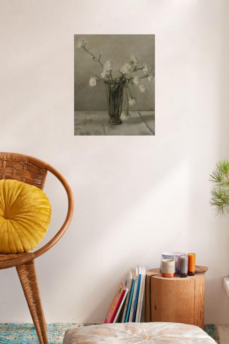 Claveles blancos | Dibujo de Charo Mirat | Compra arte en Flecha.es