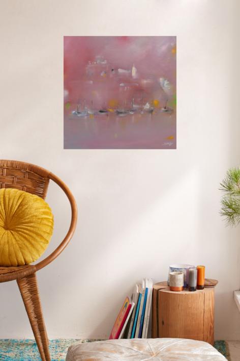 Puerto de Ciudadela al alba | Pintura de María Julia Bennassar | Compra arte en Flecha.es