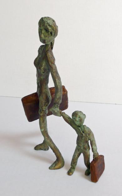 El Viaje (gente por la calle)|EsculturadeAna Valenciano| Compra arte en Flecha.es