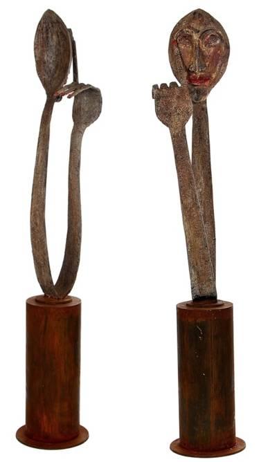 CON EL DEDO EN EL OJO|EsculturadeJavier Rodanés| Compra arte en Flecha.es