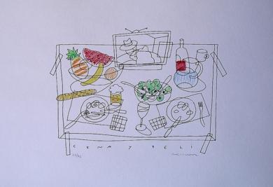 Cena y peli|Obra gráficadeFernando Bellver| Compra arte en Flecha.es