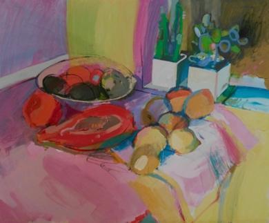 PAPAYA Y LIMONES|PinturadeCarlota Rios| Compra arte en Flecha.es